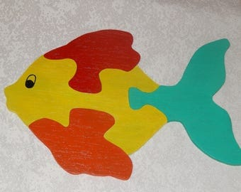 Puzzle wood fish 4 multicolored pieces