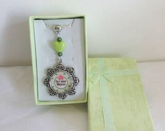 Necklace love you Grandma green white and silver - A22