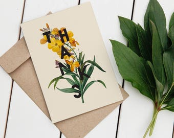 SET OF 3 Printable Modern Floral Thank You Card, Printable Greeting Card, Printable Notecard, Thank You Cards, 4 x 6