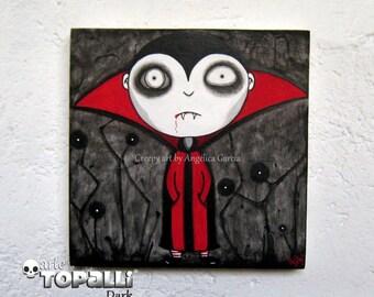 Vampire Original painting, painting to the acrylic on wood, painted in acrylic on wood, Dracula, Vampire, Creepy illustration art