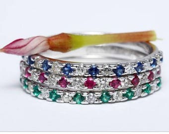 Wedding ring white 14 k gold and diamonds emeralds Rubys sapphires certfiee trilogy