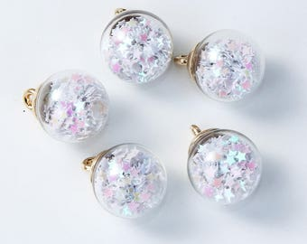 Charm / pendant glass globe filled with white stars