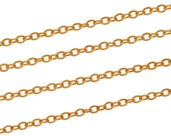 Chain link gold brass 2mm x 1.5 mm-sold by the yard