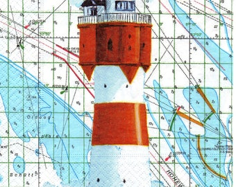 406 - Lighthouse and map - paper towel