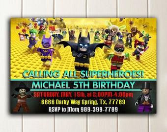 Batman Lego Invitation,Batman Lego Birthday,Batman Lego Party,Batman Birthday Invitation,Batman Lego Party Invitation,Batman Lego Invite