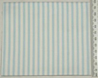 Embroidery Makower - stripe - blue on ivory background.