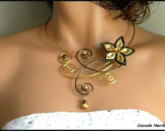 Celine flower chocolate gold foil silver Pearl wedding bridal necklace