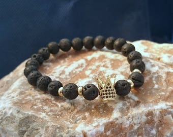 Zirconia Gold-Black Color King Crown Charm Bracelet Matte Stone Bracelets For Men Women Beads Handmade Unisex Gift Fashion Design Stylish