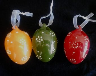 Set of 3 large glass eggs