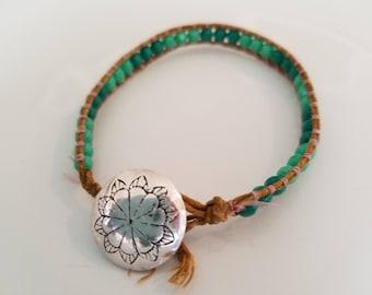 beaded single wrap bracelet handmade boho