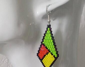 novelty earrings geometric shape new Miyuki beads