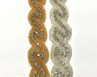 "1 ""  Crystal Beaded rhinestone trim Gold-Silver #QRGY6358"