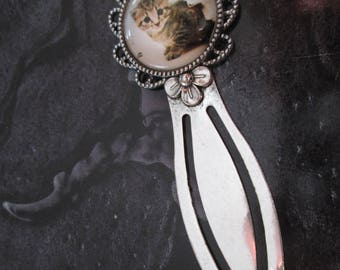 * mother's day * silver cute cat pattern metal bookmark
