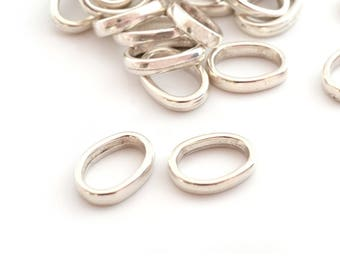 2 rings silver metal 10x14mm oval connectors (made in Europe)