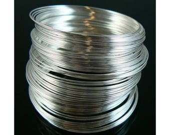 50 Loops 22 Gauge Round Memory Wire, Silver-Plated Carbon Steel Wire, Bracelet Memory Wire, Jewelry Supplies, Beading Supplies