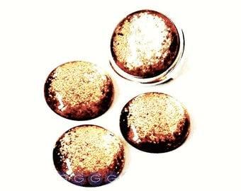 Cabochon resin - Glitter - circular (20mm) - Brown - CABSYRD2016LMAR234