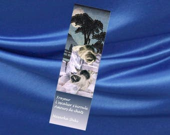Set of two bookmarks with cat and haiku