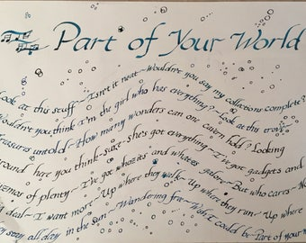 Little Mermaid: Part of Your World, lyrical excerpt Wall Piece