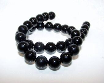 Round 12.00 mm black Agate onyx bead. Semi-precious stones. (2514793)