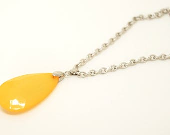 Necklace silver large drop Yellow faceted