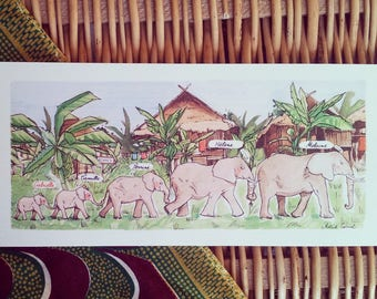 100 invitations baby African elephant illustration