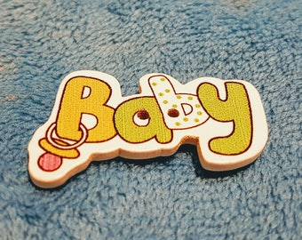 Baby - green wooden button