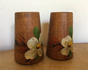 Wooden salt and pepper shakers. Hand painted flowers
