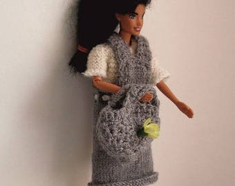 """handmade knit"" clothes: dress, sweater, headband, knit doll mannequint basket, barbie."