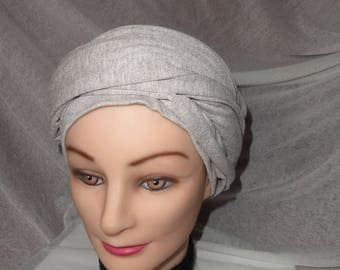 BEIGE CHINA CHEMO TURBAN HAT HAS TIE AROUND THE HEAD IN ONE PIECE
