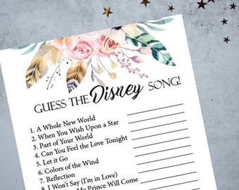 Guess The Disney Song Bridal Shower Game, Boho Bachelorette Party Game, Printable Bachelorette Game, Hens Night Game, Wedding Game