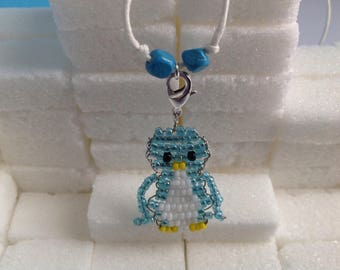 Penguin necklace seed bead and cord