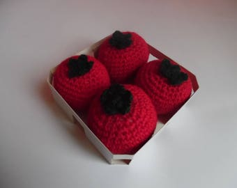 Dinette crochet tray 4 tomatoes