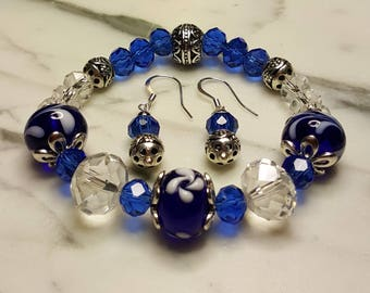 Blue and Clear Crystal Stretch Bracelet with matching Earrings