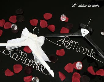 "Custom ""Bride"" and ""Groom"" hangers DUO handmade gift for the newlyweds"
