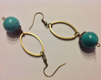 Earrings big turquoise beads connectors