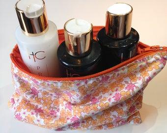 Orange BOUQUET - pink and orange flower pattern cotton pouch