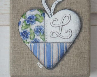 PERSONALIZED Monogram heart painting