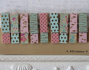 9 clips linens decorated (No.31) pink & green (small and thicker)
