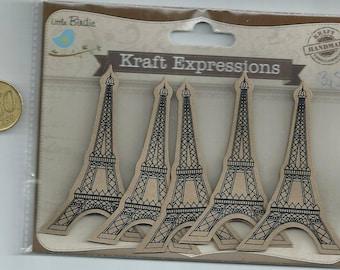 Set of 5 EIFFEL Tower paper paste - Little Birdie / Kraft EXPRESSIONS