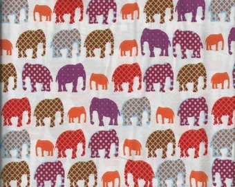 Fabric elephant - coupon 57 x 47-100% fine cotton