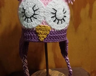 Pink Crochet Closed Eyes Owl Hat for Toddler