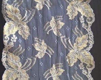 Genuine Caudry ocher and gray lace