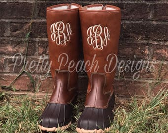 Monogram Duck Boots, Mid Calf Boots, Rain Boots, Monogram Shoes, Personalized Boots, Custom Shoes, Women's Boots, Ladies Shoes, navy, black