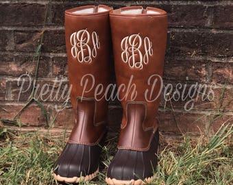 monogram duck boots mid calf boots rain boots monogram shoes boots - Duck Rain Boots