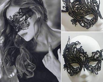 Asymmetrical Black Lace Venetian mask
