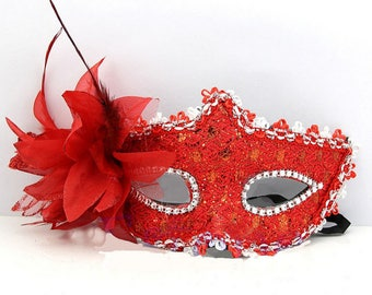 Red lace and rhinestone Venetian Wolf mask