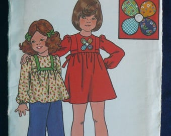 Girl's Dress, Top, Pants Pattern - Vintage Butterick 4039 - Size 3