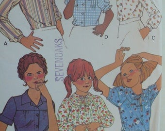 Girls Top or Blouse Pattern - Vintage McCall's 6175 - Size 5