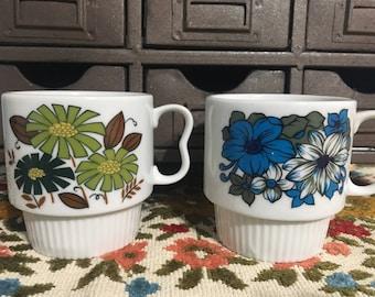 Retro Flower Mugs