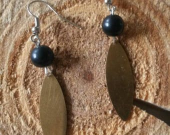 Black beads and gold plated earrings